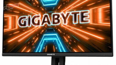 صورة تستخدم شاشة الألعاب Gigabyte M32U لوحة IPS مقاس 31.5 بوصة بدقة 4K