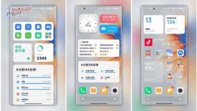 صورة تعرض لقطات شاشة MIUI 13 عناصر واجهة مستخدم جديدة